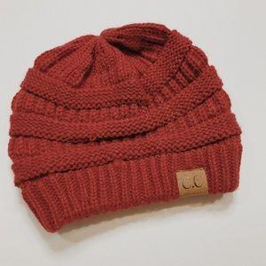• C.C. • red knit winter beanie hat